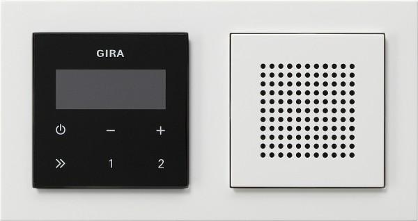 Gira 049572 Unterputz RDS Radio Display schwarz Lautsprecher+E2 Rahmen reinweiß glänzend