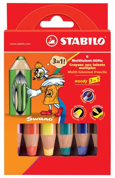 Stabilo Woody 6er Etui Farbstift, 3 in 1