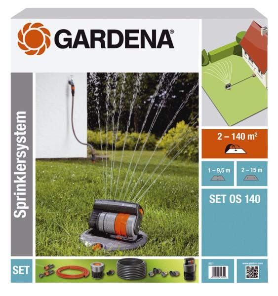 Gardena 8221-20 Viereckregner versenkbar OS 140 Komplett-Set (Beregnete Fläche 2 - 140 qm; Reichweit