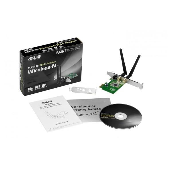 Asus PCE-N15 N300 Wi-Fi PCIe-Karte (802.11 b/g/n, PCIe 1x, 2x externe Antennen, Low Profile)