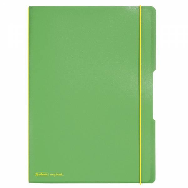 Herlitz 11361458 Notizheft (A4, PP-Wechselcover mit Verschlußgummi, 80g/m²) 80 Blatt hellgrün