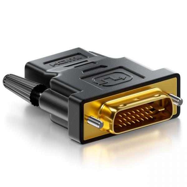 deleyCON HDMI zu DVI Adapter HDMI Buchse zu DVI Stecker 24+1 1920x1200 1080p