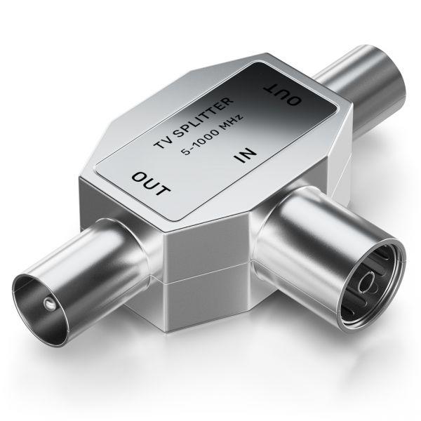 deleyCON Antennen-Verteiler T-Kupplung Zweigeräte-Verteiler für TV / T-Adapter