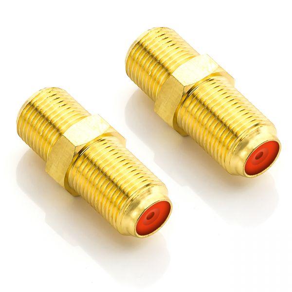 deleyCON 2 SAT Adapter Verbinder Koaxialkabel verlängern 2x F-Buchse vergoldet