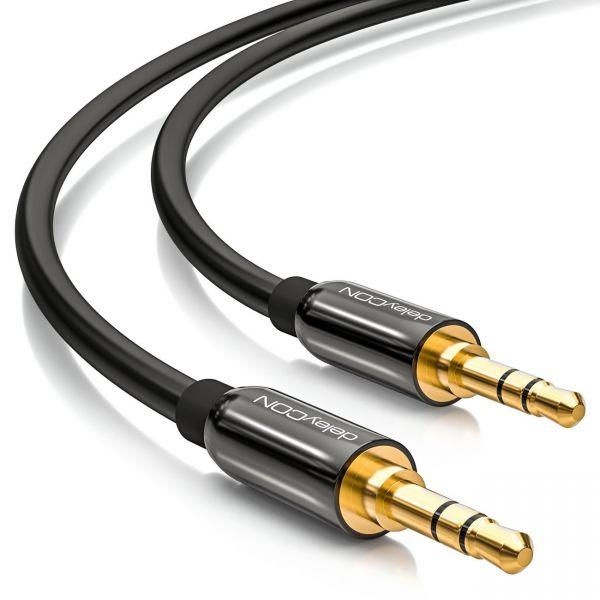 deleyCON 5m Klinkenkabel 3,5mm AUX Kabel Stereo Audio Kabel 2x gerade Schwarz