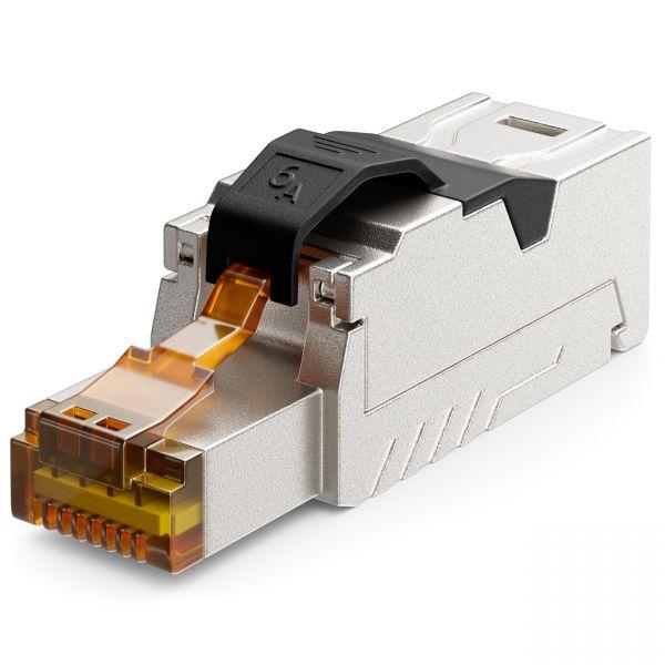 deleyCON 1x CAT 6a Netzwerkstecker Werkzeuglos Netzwerkkabel Patchkabel RJ45