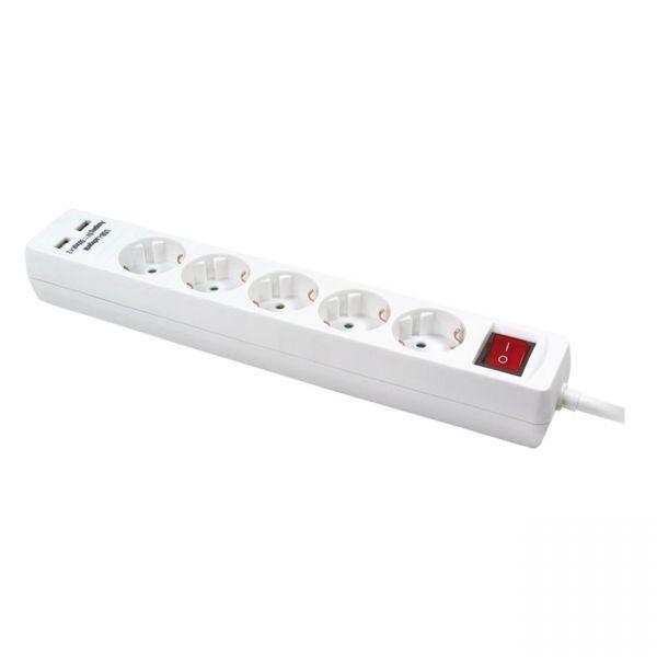 5 Fach Steckdosenleiste mit 2x USB Ladeport EIN/AUS Schalter Stromleiste mit USB