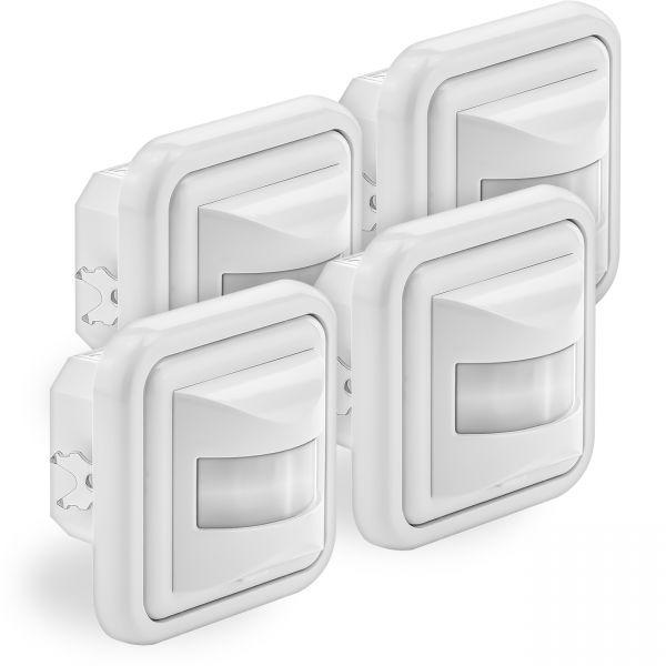 deleyCON 4x Infrarot Wand Bewegungsmelder Unterputz - IP20 - 160° bis 9m - Weiß