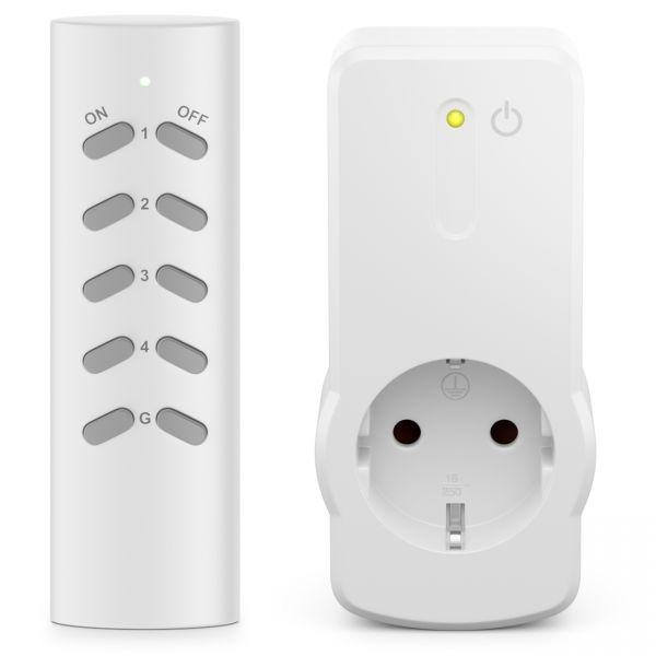 deleyCON Indoor Funksteckdosen 1+1 für Innenbereich Wohnung Büro Arbeitszimmer