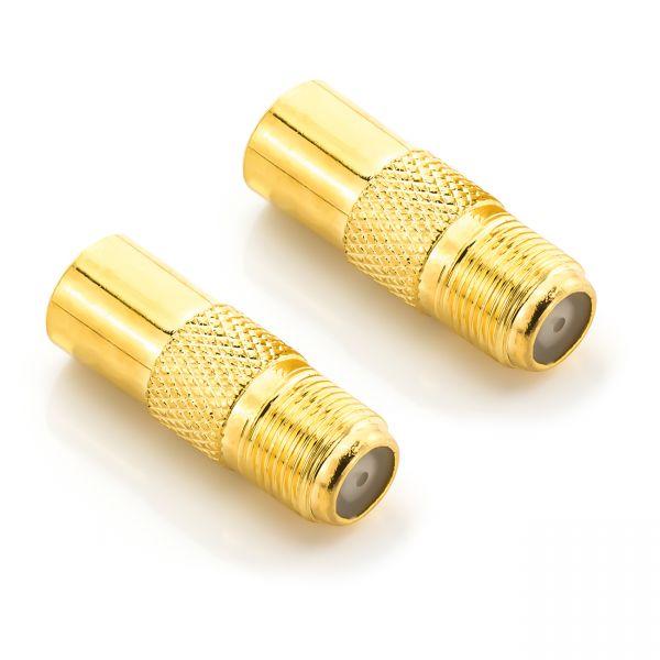 deleyCON SAT Antennenadapter F-Buchse zu IEC-Stecker Kupplung Verbinder 2 Stück