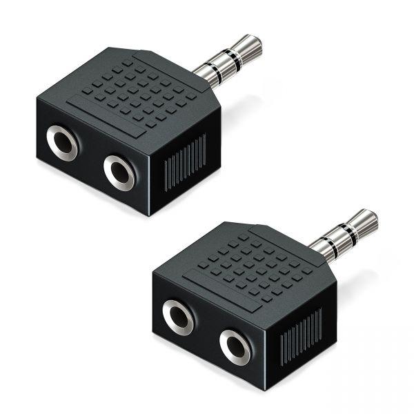 deleyCON 2x 3,5mm Klinke Audio Adapter 3,5mm Klinke Stecker zu 2x 3,5mm Buchse