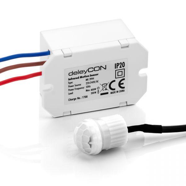 deleyCON Mini Infrarot Bewegungsmelder - Innenbereich - Unterputz - Weiß