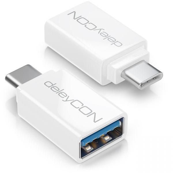 deleyCON 2x USB-A auf USB_C OTG Adapter Handy Smartphone Tablet Laptop Weiß