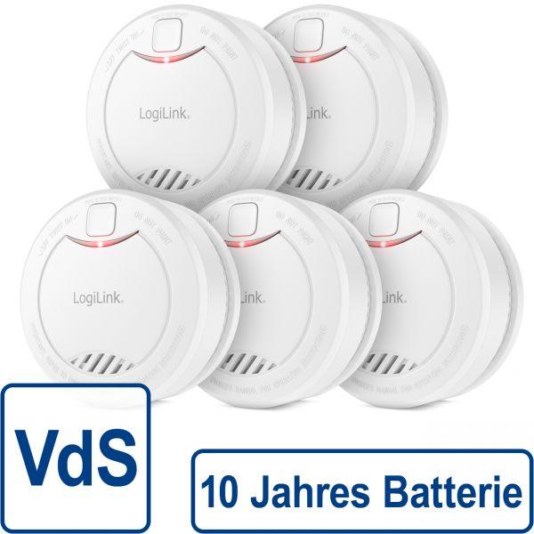 5x LogiLink Rauchmelder VdS 10 Jahre Batterie 85dB Feuermelder Brandmelder Alarm