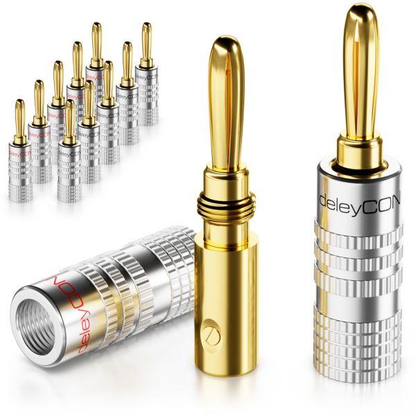 deleyCON 12x Bananenstecker Schraubbar für Lautsprecherkabel von 0,75mm - 4mm