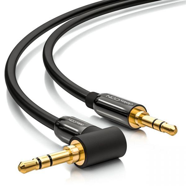 deleyCON HQ Klinken Kabel 90 Grad gewinkelt [2m] 2x 3,5mm Klinken Stecker (90°)