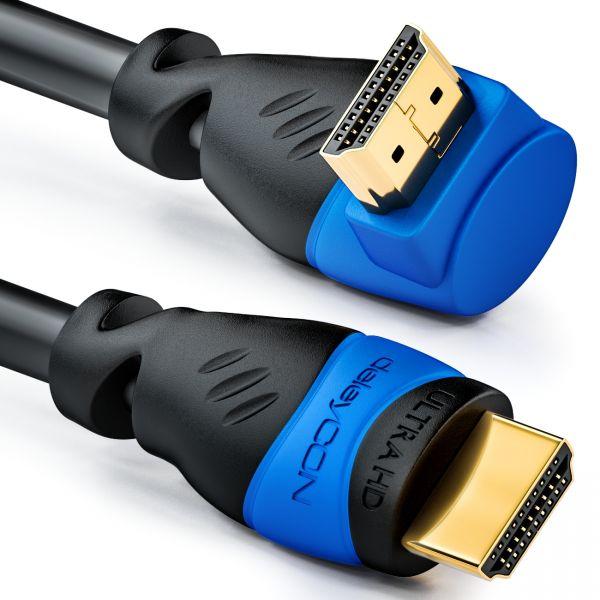 deleyCON 2m HDMI 270° Grad Winkel Kabel - HDMI 2.0/1.4a kompatibel mit Ethernet
