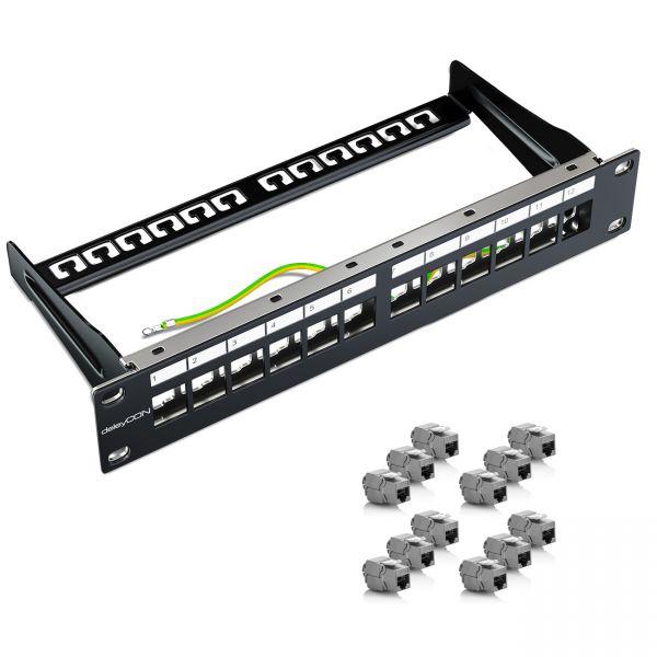 deleyCON 12 Port Patchpanel für Keystone 1HE 10 Zoll inkl. 12x Keystone Module