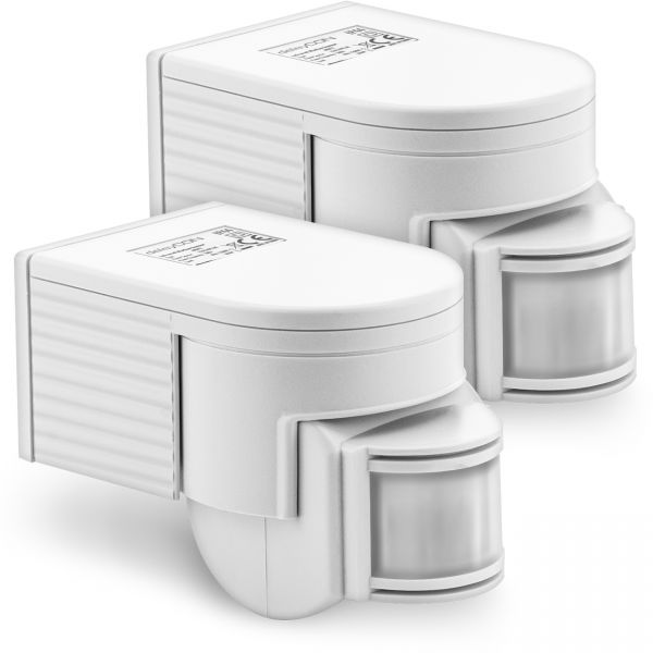 deleyCON 2x Infrarot Bewegungsmelder Aufputz 180° INNEN+AUSSEN bis 12m Lampe LED