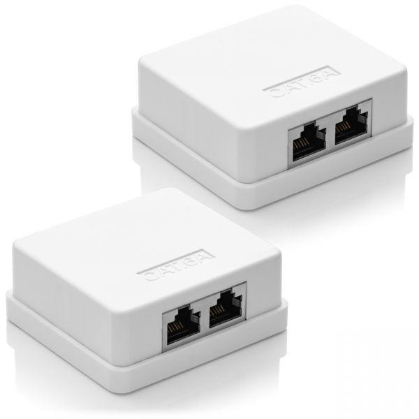 deleyCON CAT 6a Netzwerkdose 2x RJ45 Buchse FTP geschirmt Aufputz 2 Stück Weiß