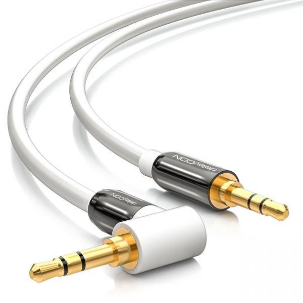 deleyCON 1m Klinken Kabel 90° Grad gewinkelt [weiß] 3,5mm Stecker zu Stecker