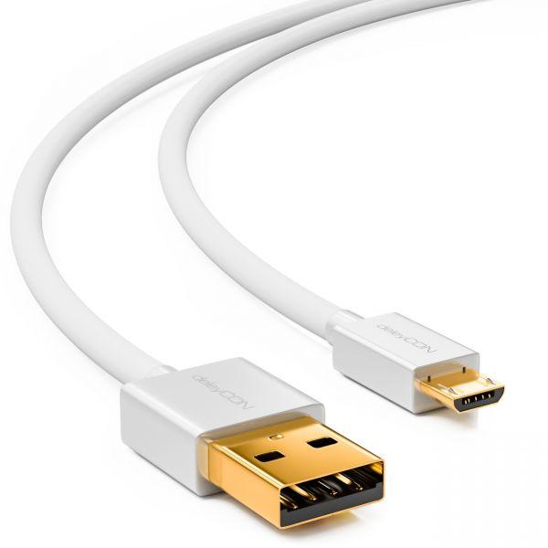 deleyCON 0,5m USB 2.0 High Speed Kabel / USB auf Micro USB - Weiß