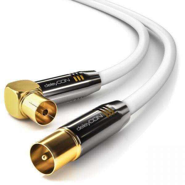 deleyCON HDTV TV Antennen Kabel 12,5m - 1x 90° gewinkelt 12,5m Stecker zu Buchse