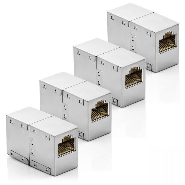 deleyCON 4x RJ45 Netzwerkkabel Kupplung Patchkabel Verbinder Modular Kupplung