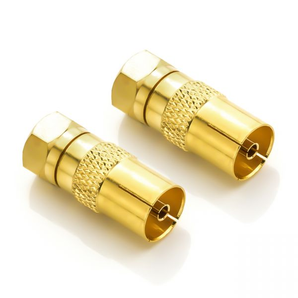 deleyCON SAT Adapter Kabel zu SAT SET 2 Stück F-Stecker zu IEC-Buchse Kupplung