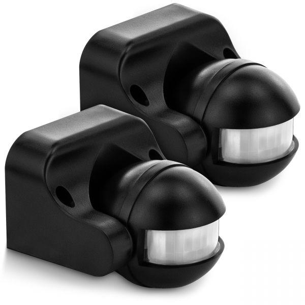 deleyCON 2x Infrarot Bewegungsmelder - Innen/Außen IP44 - 180° bis 12m - Schwarz