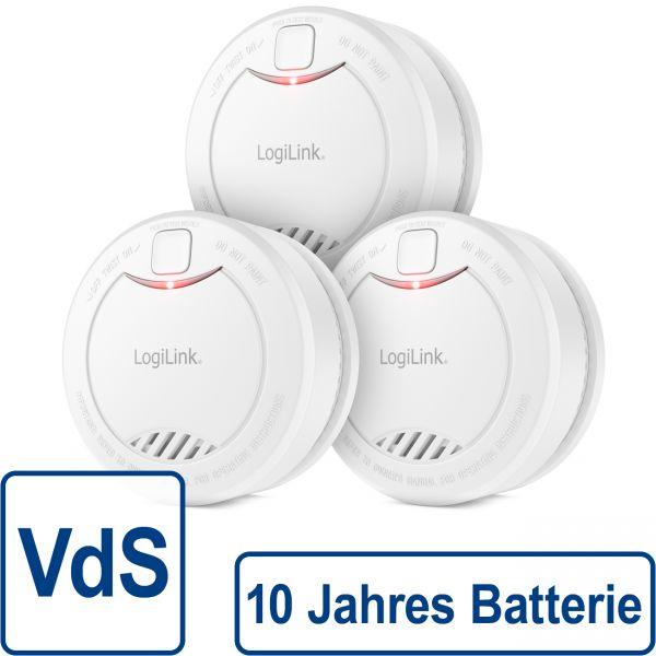 3x LogiLink Rauchmelder VdS 10 Jahre Batterie 85dB Feuermelder Brandmelder Alarm