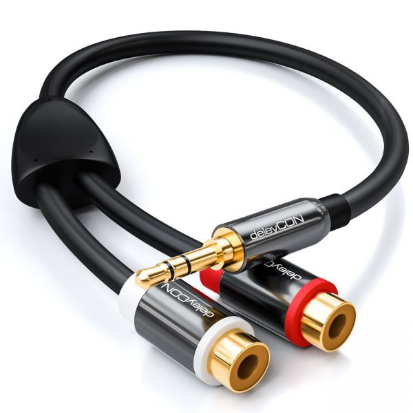 deleyCON HQ Cinch zu Klinken Adapter- 3,5 Klinken Stecker zu 2x RCA Cinch Buchse