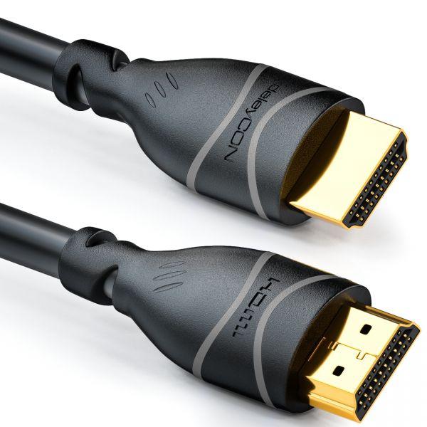 deleyCON 3m HDMI Kabel HDMI 2.0 kompatibel 4K UHD 2160p FULL HD 1080p 3D Schwarz