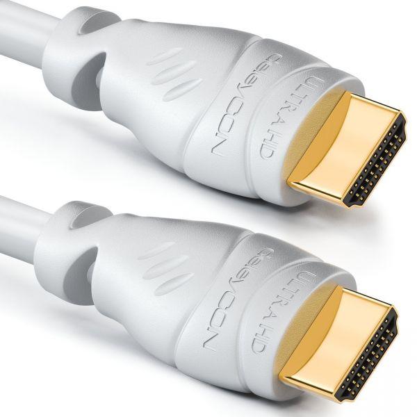 2m HDMI Kabel 2.0 / 1.4 Ethernet 4K UHD FULL HD 3D HDR LED TV Beamer deleyCON