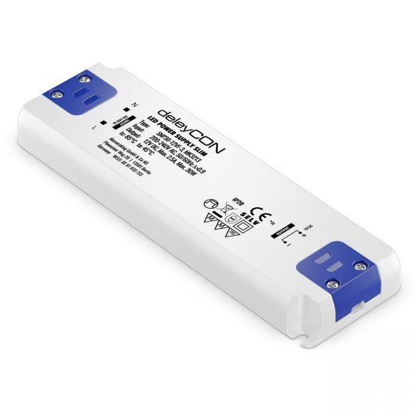 deleyCON 12V LED Trafo Transformator Netzteil SLIM 0-30W 200-240V DC LED Lampen