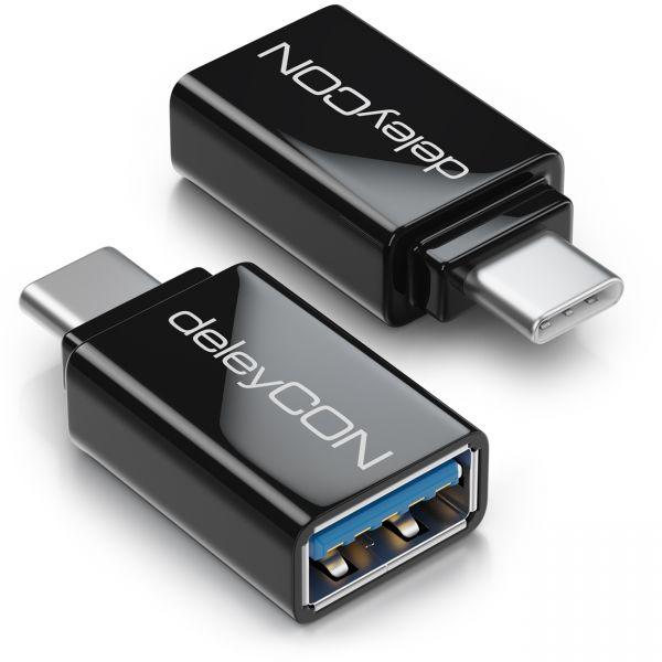 deleyCON 2x USB-A auf USB-C OTG Adapter Handy Smartphone Tablet Laptop Schwarz