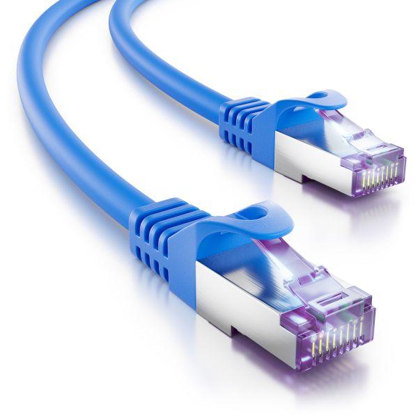 deleyCON 0,25m RJ45 Patchkabel SFTP PiMF Netzwerkkabel mit CAT7 Rohkabel blau