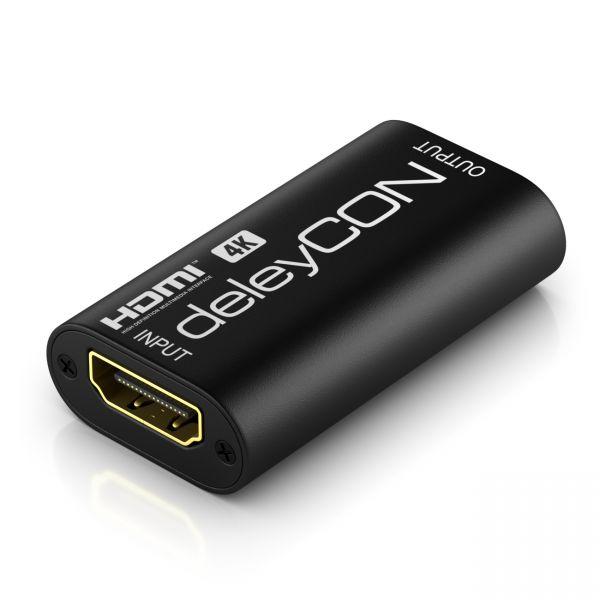deleyCON HDMI Repeater Signal Verstärker HDMI Verstärker 4k@30Hz UHD 2160p