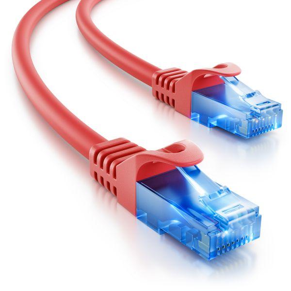 deleyCON 0,25m CAT6 Patchkabel Netzwerkkabel Ethernet LAN DSL Kabel Rot