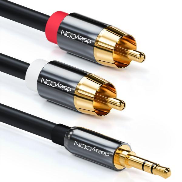 deleyCON PREMIUM HQ Stereo Audio Kabel 3,5mm Stecker zu 2x Cinch Stecker [3m]