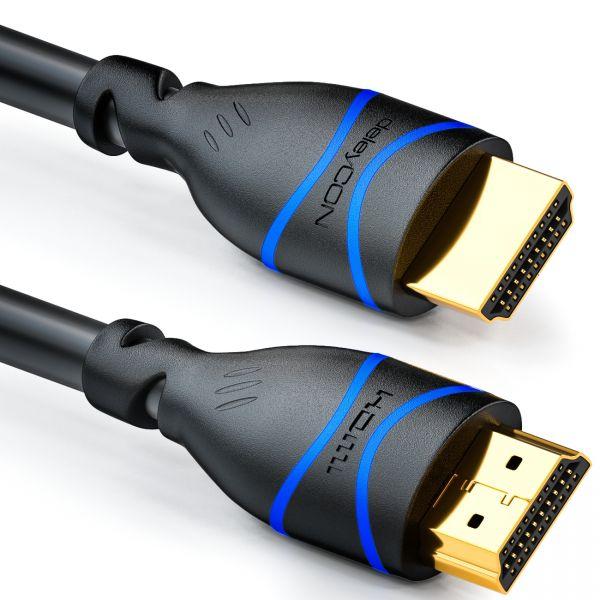 deleyCON 0,5m HDMI Kabel HDMI 2.0 kompatibel 4K UHD 2160p FULL HD 1080p 3D Schwa