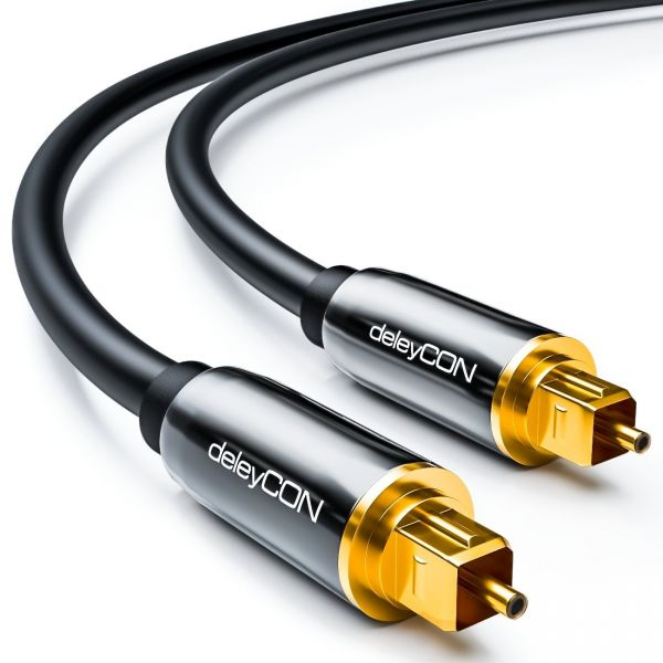 deleyCON HQ 1,5m Optisches Audio Kabel 5mm LWL- 2x Toslink Metallstecker Schwarz