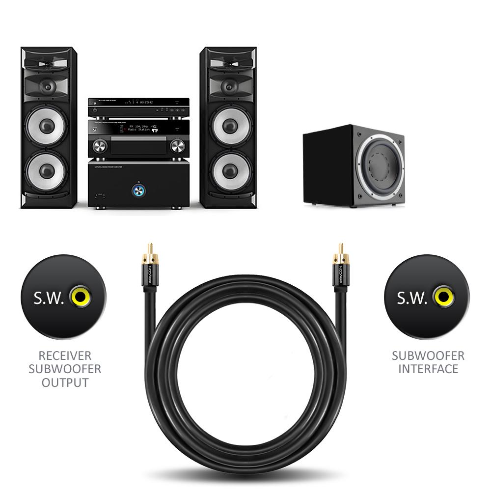 deleycon 3m subwoofer kabel rca cinch stecker zu stecker. Black Bedroom Furniture Sets. Home Design Ideas