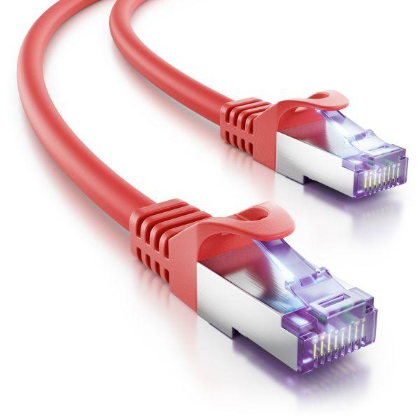 deleyCON 0,25m RJ45 Patchkabel SFTP PiMF Netzwerkkabel mit CAT7 Rohkabel rot