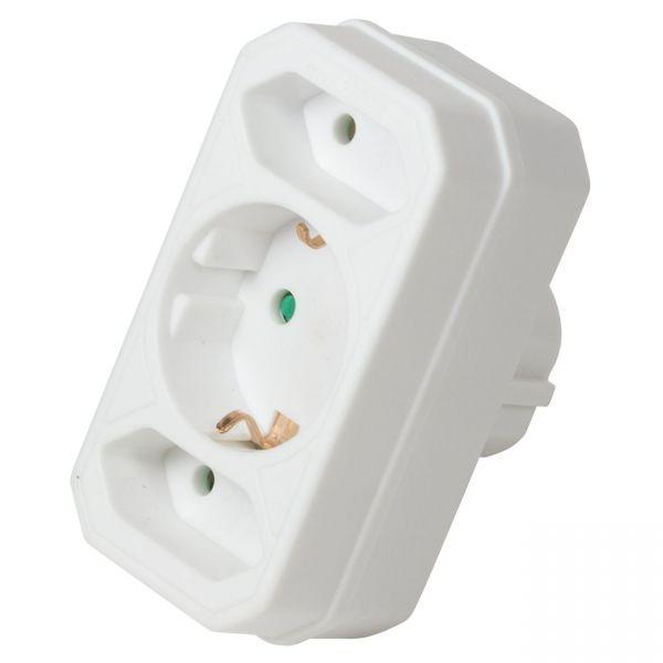 3 Fach Steckdosen Adapter Verteiler Strom Stecker Mehrfachstecker Stromadapter