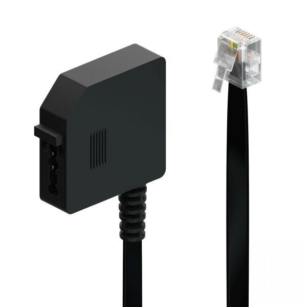 deleyCON 0,2m Telefon Adapter RJ11 Stecker 6P4C auf TAE-F Buchse Flachkabel