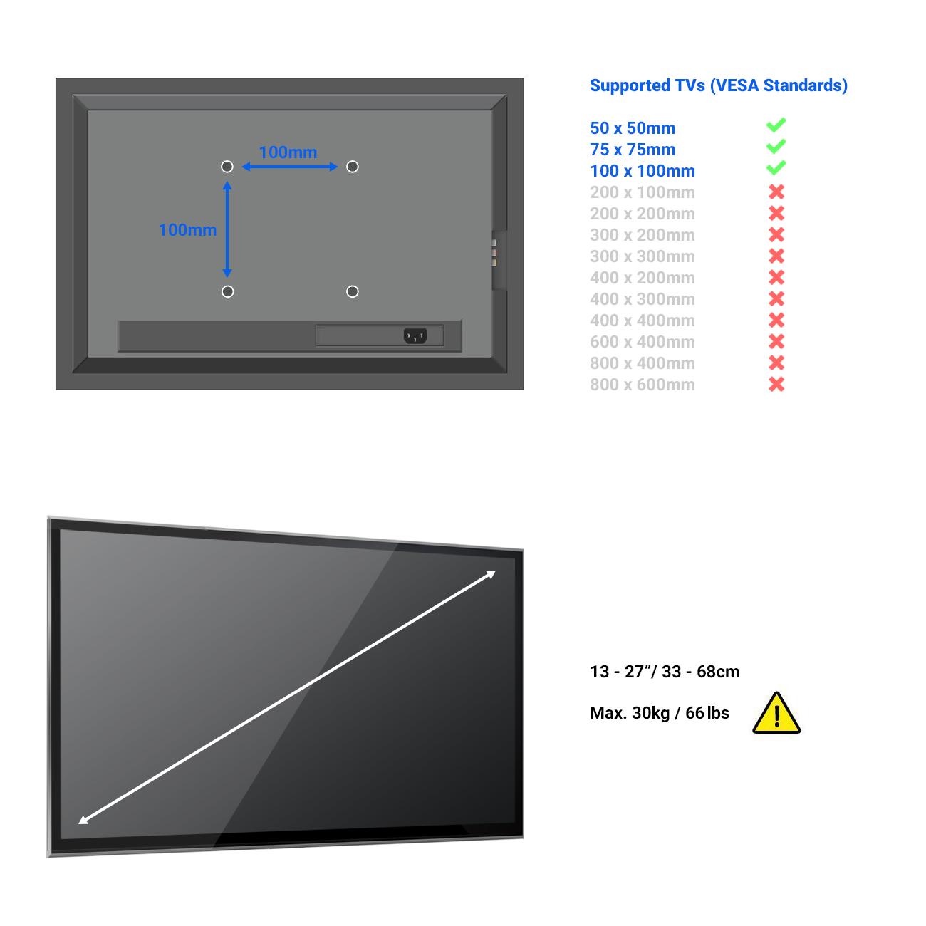 TV Monitor Wandhalterung Monitorhalterung C1 für Acer Vesa 100x100 mm Universal