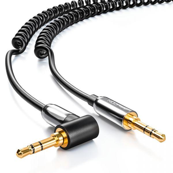 deleyCON 3m Klinken Kabel Spiralkabel 2 x 3,5mm Klinke 1 x 90° abgewinkelt