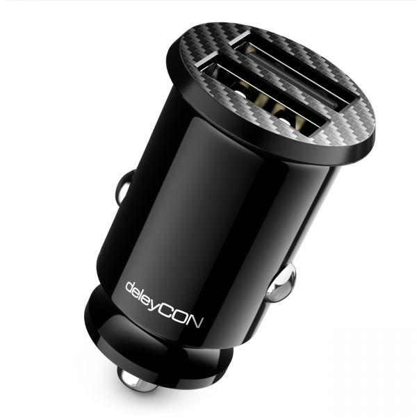 deleyCON 2,4A USB Ladegerät Zigarettenanzünder Schnellladung 2-Port Mini KFZ
