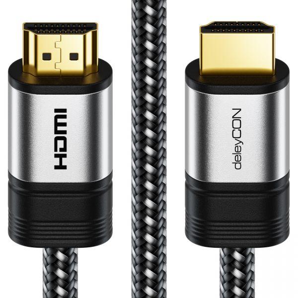 deleyCON 3m 4K UHD HDMI Kabel mit Metallstecker und Nylonmantel 2160p ULTRA HD
